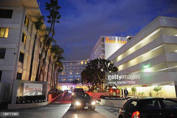 View of the Beverly Hilton Hotel a few hours before the scheduled Clive Davis And The Recording Academy's 2012 PreGrammy Gala And Salute To Industry...