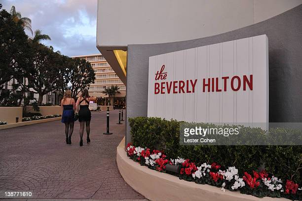 View of the Beverly Hilton Hotel before the Clive Davis and The Recording Academy's 2012 PreGRAMMY Gala And Salute To Industry Icons Honoring Richard...