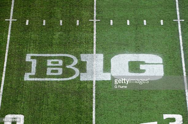 A view of the Big Ten logo on the field during the game between the Maryland Terrapins and the Ohio State Buckeyes at Byrd Stadium on October 4 2014...