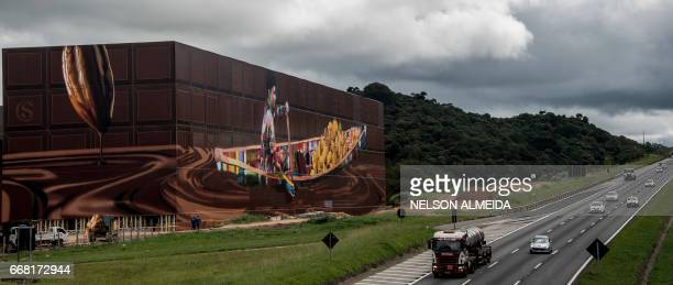 View of the biggest mural in the world with 5742 square meters by Brazilian mural artist Eduardo Kobra in Itapevi metropolitan area of Sao Paulo...