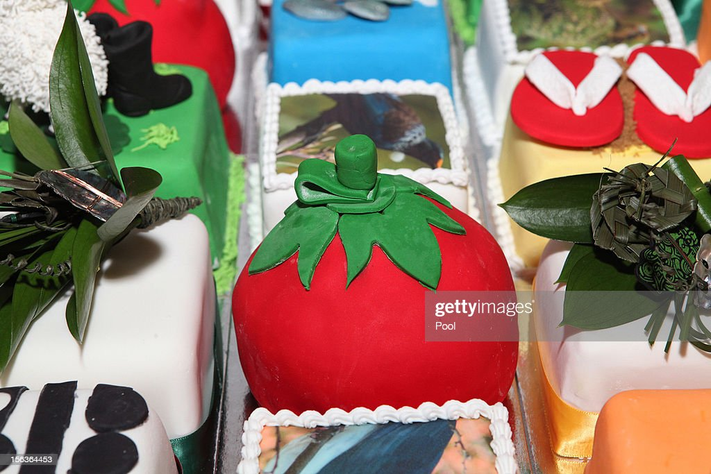 A view of the birthday cake for Prince Charles, Prince of Wales during his 64th birthday celebrations at Government House on November 14, 2012 in Wellington, New Zealand. The Royal couple are in New Zealand on the last leg of a Diamond Jubilee that takes in Papua New Guinea, Australia and New Zealand.