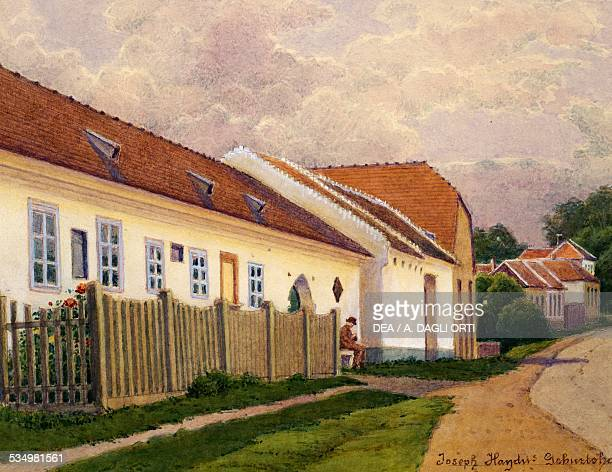 View of the birthplace of the Austrian pianist and composer Franz Joseph Haydn in Rohrau watercolour
