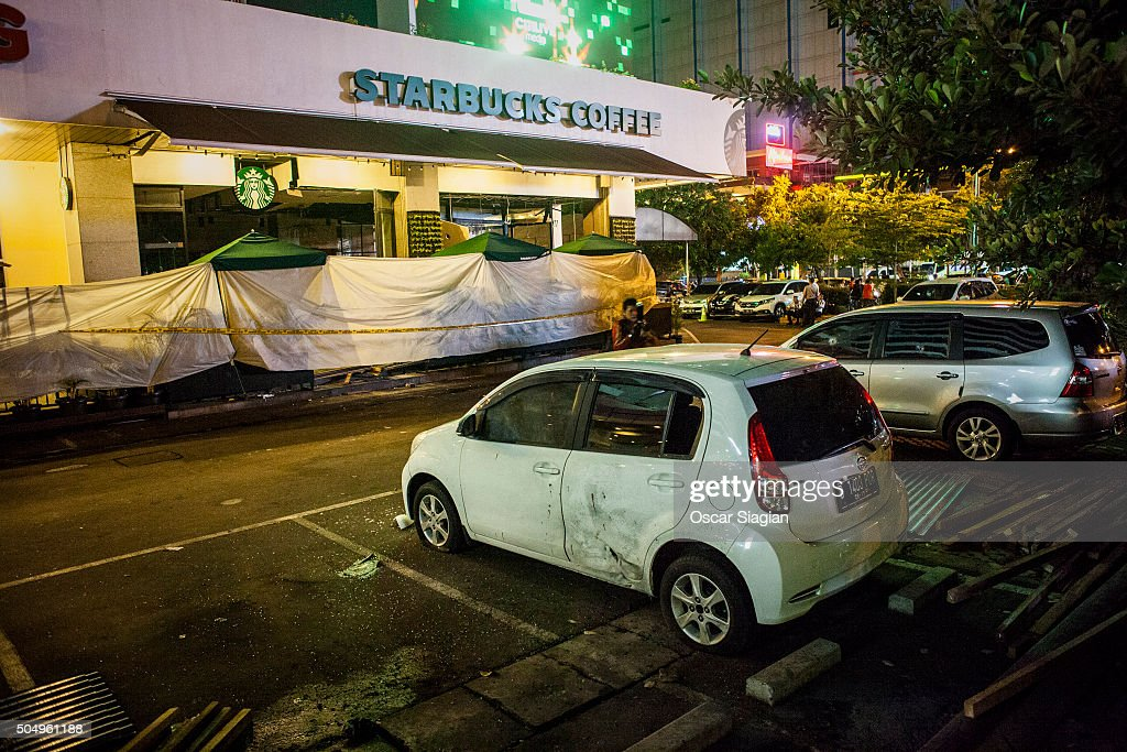 A view of the blast site outside Starbucks after a series of explosions hit the Indonesia capital on January 14 2016 in Jakarta Indonesia Reports of...