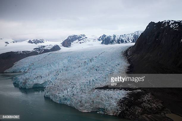 A view of the Blomstrand Glacier on June 16 in NyAlesund Norway US Secretary of State John Kerry and Norwegian Foreign Minister Borge Brende toured...