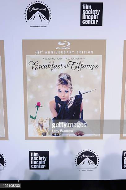 A view of the blue carpet at the 50th Anniversary of 'Breakfast at Tiffany's' at Alice Tully Hall at Lincoln Center for the Perorming arts on...