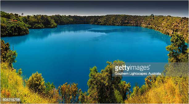 A view of the blue lake volcanic crater at Mount Gambier, South Australia.