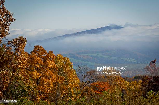 A view of the Blue Ridge Mountains emerging from the morning fog are seen from the Skyline Drive in Shenandoah National Park in Virginia October 25...