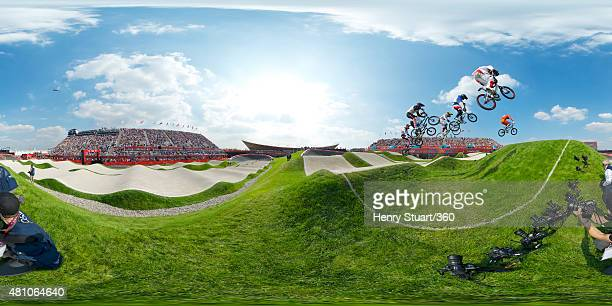 A 360 view of the BMX track as competitors take to the air during a heat on Day 14 of the London 2012 Olympic Games at the BMX Track on August 10...