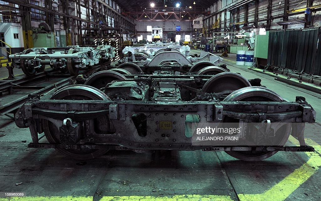 View of the bogie of one of the historic wagons of La Brugeoise that remain parked at the garage El Polvorin, in the neighborhood of Caballito, Buenos Aires on January 4, 2013. The Line A will be closed betwen January 12 and March 8 following a decision by Buenos Aires city Mayor Mauricio Macri to replace the fleet with Chinese-made wagons. Line A was the first subway line to work in the southern hemisphere and its trains are among the ten oldest still working daily. The La Brugeoise wagons were constructed between 1912 and 1919 by La Brugeoise et Nicaise et Delcuve in Belgium.