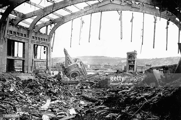 View of the bomb damage and devastation suffered by the city of Cherbourg France June 1944