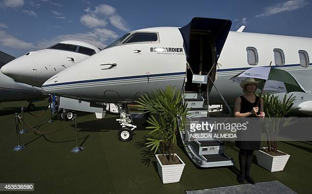 View of the Bombardier's Challenger 350 aircraft during the Latin American business aviation fair being held in Sao Paulo Brazil on August 12 2014...