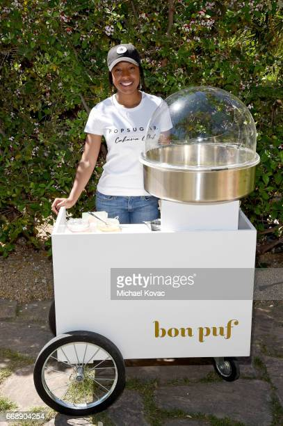 A view of the Bon Puf cotton candy cart during POPSUGAR and The Council of Fashion Designers of America's Brunch with Designers Emily Current and...