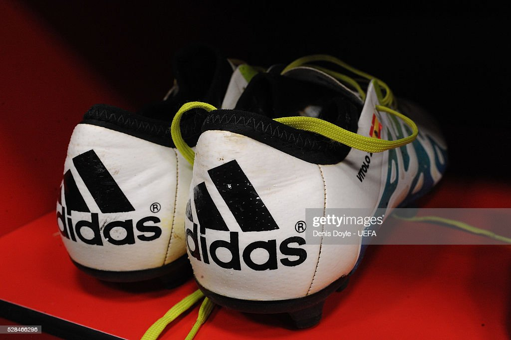 View of the boots of Victor Vitolo of Sevilla in the team dressing room ahead of the UEFA Europa League Semi Final second leg match between Sevilla and Shakhtar Donetsk at the Sanchez Pizjuan stadium on May 5, 2016 in Seville, Spain.