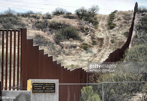 View of the border line between Mexico and the US in the community of Sasabe in Sonora state Mexico on January 13 2017 Hundreds of Central American...