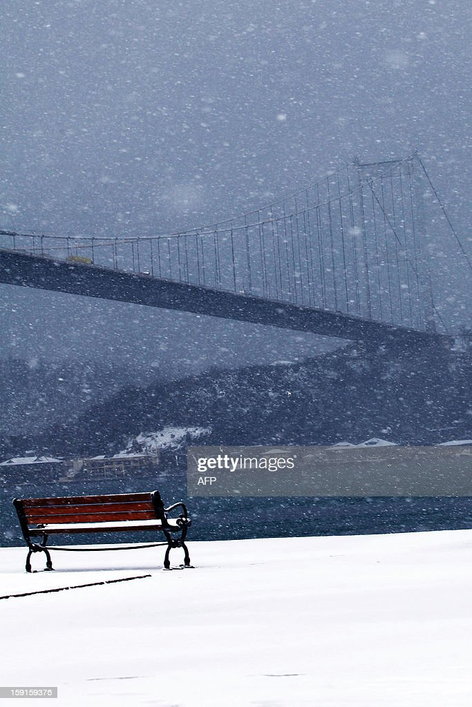 A view of the Bosphorous river and bridge during a snow storm in Istanbul, on January 9, 2013. Heavy snowfall blanketed Turkey's commercial hub Istanbul, a city of 15 million, paralysing daily life and disrupting air traffic and land transport. AFP PHOTO / MIRA
