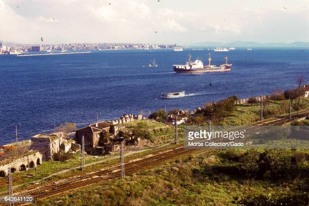 View of the Bosphorus strait from the top of the Topkaki Palace facing south toward the Sea of Marmara in Istanbul Turkey November 1973 Large cargo...