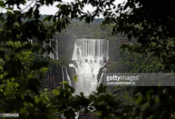 View of the Bossetti waterfall at Iguazu Falls from the Brazilian side of the Iguazu River near the Brazilian city of Foz do Iguazu 17 January 2007...