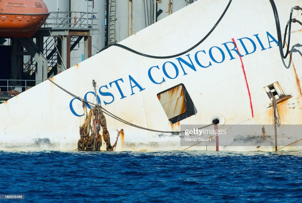 A view of the bow of the wreckage of the Costa Concordia on September 14, 2013 in Isola del Giglio, Italy. The Costa Concordia is reportedly due to be righted beginning on the morning of September 16, then, if the operation is successful, it will be towed away and scrapped.
