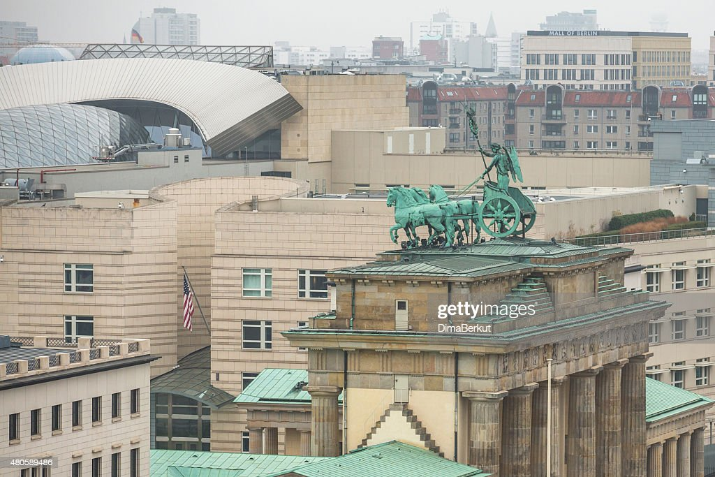 View of the Brandenburg Gate is very famous architectural monument : Stock Photo