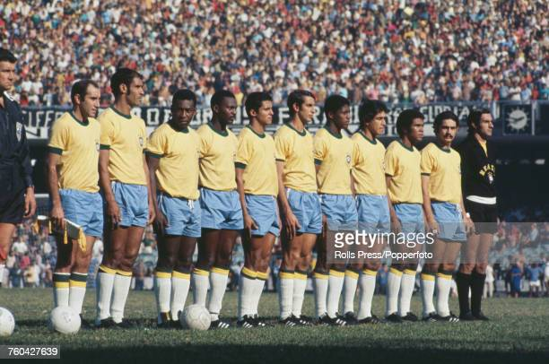 View of the Brazil national football team lined up on the pitch prior to their international friendly match with Yugoslavia at the Maracana Stadium...