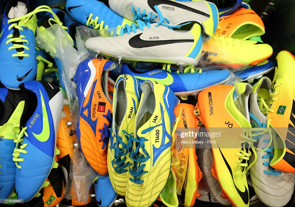 View of the Brazil team's boots in their dressing room prior to the FIFA Confederations Cup Brazil 2013 Semi Final match between Brazil and Uruguay at Governador Magalhaes Pinto Estadio Mineirao on June 26, 2013 in Belo Horizonte, Brazil.