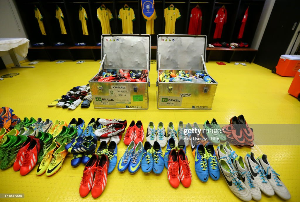 View of the Brazil team's kit and boots in their dressing room prior to the FIFA Confederations Cup Brazil 2013 Semi Final match between Brazil and Uruguay at Governador Magalhaes Pinto Estadio Mineirao on June 26, 2013 in Belo Horizonte, Brazil.