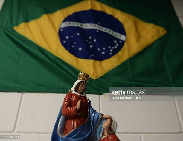 View of the Brazilian flag and religious icons in the Brazil dressing room prior to the FIFA Confederations Cup Brazil 2013 Group A match between...