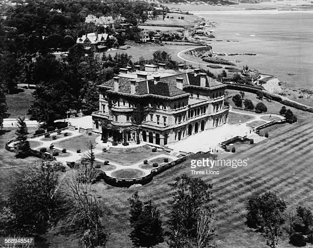 A view of 'The Breakers' mansion built by Cornelius Vanderbilt in 1895 on Cliff Walk overlooking the Atlantic Ocean Newport Rhode Island circa 1950
