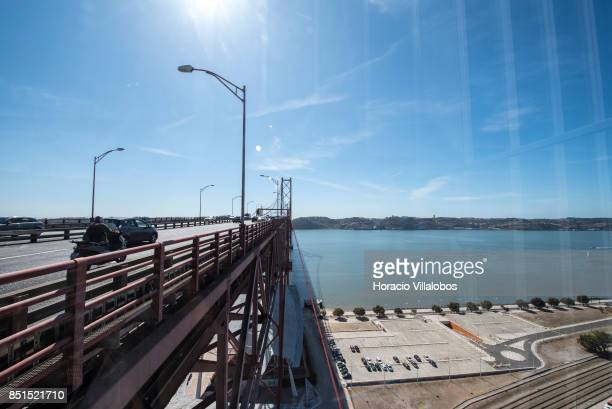 View of the bridge and Tagus River from the viewpoint at 80 meters over street level of Pier 7 of 25 de Abril bridge site of the 'Experiencia Pilar...