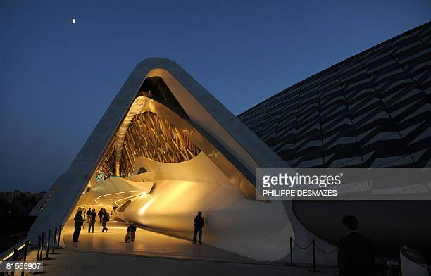 View of the bridge pavilion 'Water a scarce resource' designed by Iranian Zaha Hadid as part of the International Exhibition Expo Zaragoza 2008 on a...