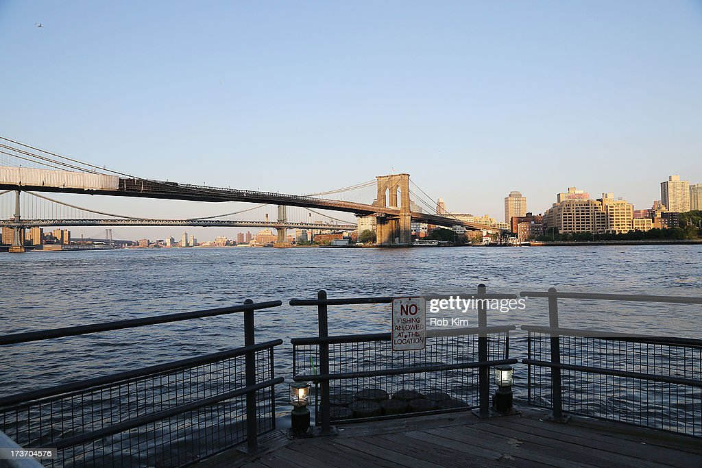 A view of the Brooklyn Bridge during Cody Simpson's 'Surfer's Paradise' album release party at the Beekman Beer Garden Beach Club on July 16, 2013 in New York City.