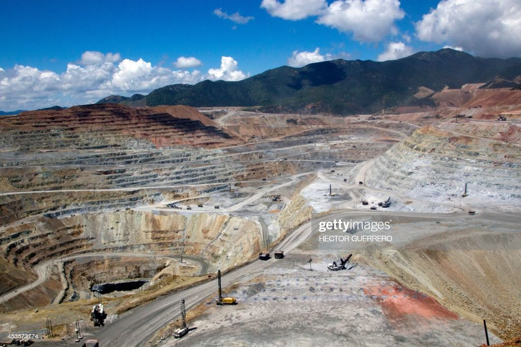 View of the 'Buena Vista' copper mine in Cananea community Sonora state Mexico on August 13 which leaked 40 thousand cubic meters of sulfuric acid...