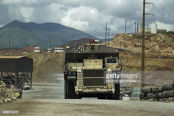 View of the 'Buena Vista' copper mine in Cananea community Sonora state Mexico on August 13 which five days ago leaked 40 thousand cubic meters of...
