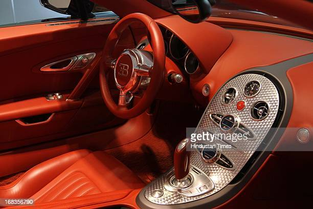 A view of the Bugatti Veyron 164 Grand sports car's dash board during its India launch on October 28 2010 in New Delhi India The Bugatti Veyron...