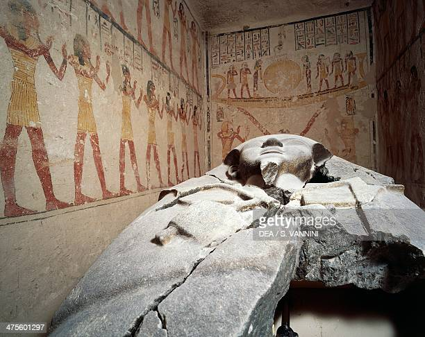 View of the burial chamber with the granite sarcophagus Tomb of Ramesses VI Valley of the Kings Thebes Egyptian civilisation New Kingdom Dynasty XX