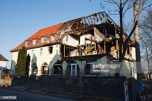 A view of the burntout remains of the apartment that was once the residence of NSU murder trio Uwe Mundlos Uwe Boehnhardt and Beate Zschaepe on...