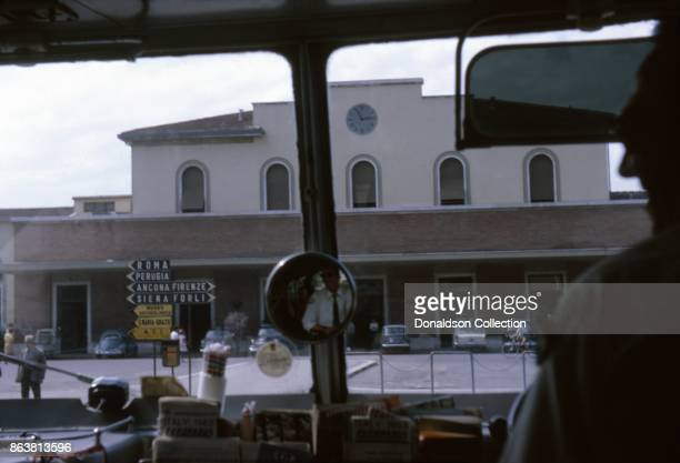 A view of the Bus Station street signs and interior of a motor coach on September 12 1963 in Milan Italy