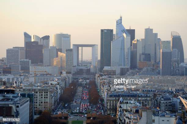View of the business district of La Defense from the Arc de Triomphe in Paris in Paris on december 10 2015 in Paris France
