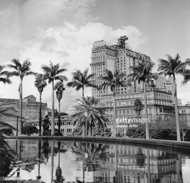 A view of the business district of Sao Paulo seen from Rodrigues Alves Gardens Brazil circa 1955
