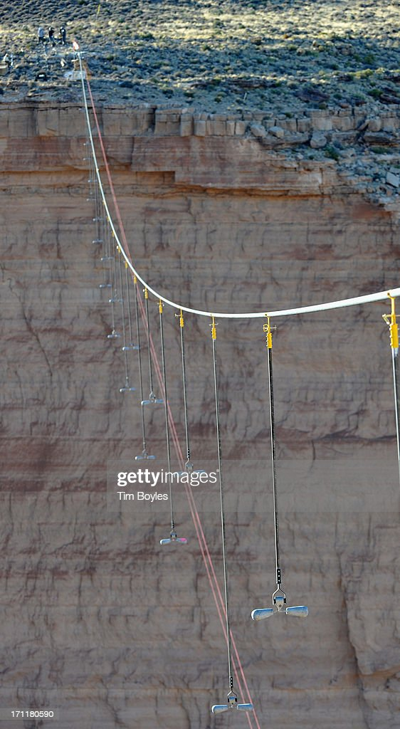 A view of the cable that will support Nik Wallenda during his historic high wire walk over the Grand Canyon at The Grand Canyon on June 22, 2013 in Grand Canyon, Arizona.