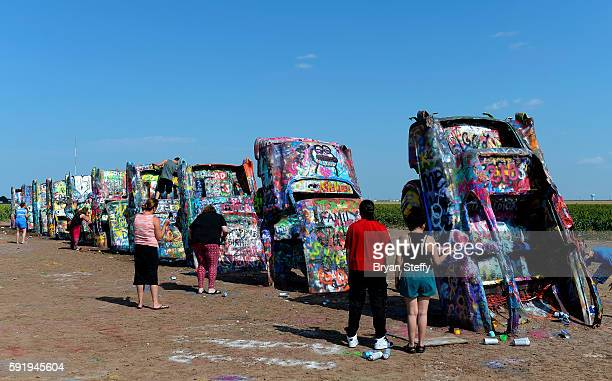A view of the Cadillac Ranch art installation in Amarillo Texas on July 29 2016 Created in 1974 by artists Chip Lord Hudson Marquez and Doug Michaels...