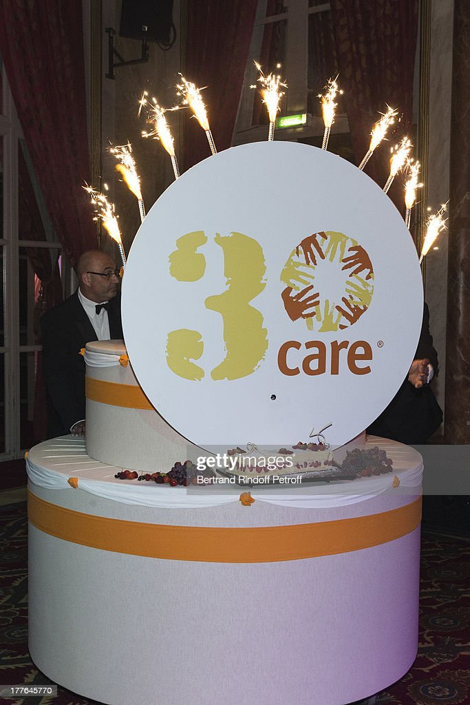 A view of the cake during the Grand Bal Care in Deauville on August 24, 2013 in Deauville, France. Care France, the French branch of the humanitarian aid organization Care, was celebrating its 30th anniversary on Saturday.