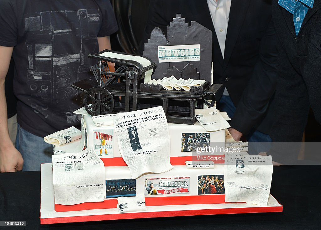 A view of the cake made for 'Newsies' Broadway One Year Celebration at Nederlander Theatre on March 28, 2013 in New York City.