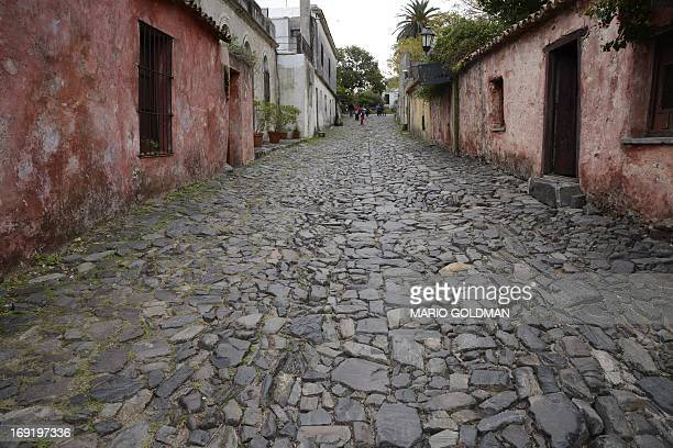 View of the 'Calle de los Suspiros' at the historic quarter section of Colonia del Sacramento designated a World Heritage Site by UNESCO about 200km...