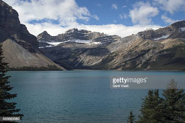 View of the Canadian Rockies with Bow Lake on September 4 2014 in Banff National Park Alberta Canada