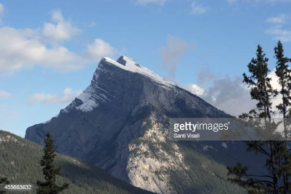 View of the Canadian Rockies with Mt Rudle on September 3 2014 in Banff National Park Alberta Canada