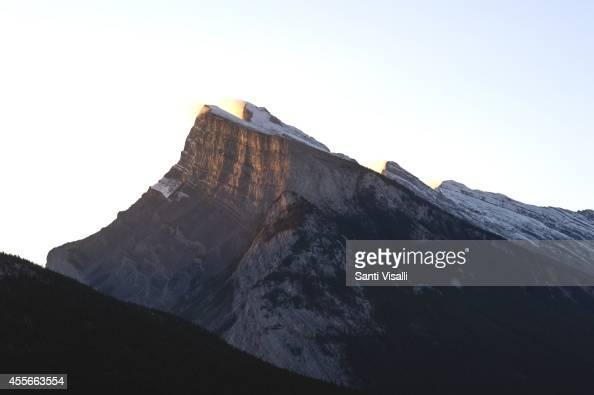 View of the Canadian Rockies with Mt Rudle on September 5 2014 in Banff National Park Alberta Canada