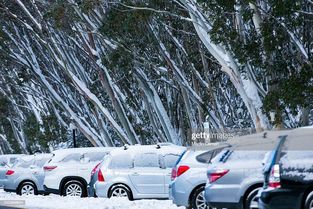 A view of the carpark on June 25, 2016 in Thredbo, Australia. Snow has been forecast across Eastern Australia as cold front continues to bring low temperatures, rain and potentially damaging winds.