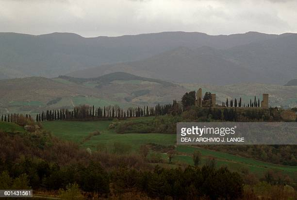 View of the Casentino hills with Romena castle in the centre Tuscany Italy 11th century