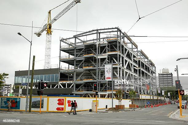 A view of the Cashel Square building on Hereford Colombo street on February 20 2015 in Christchurch New Zealand Buildings and parks in the...
